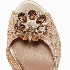 D&G Beige Crystal-Embellished Lace Mules